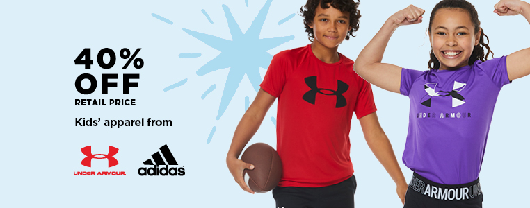 40% off Retail Price Kids' Apparel from Under Armour & adidas