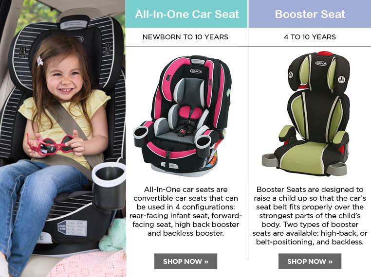 BOOSTER SEATS AND ALL-IN-ONE CAR SEATS