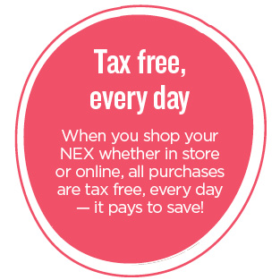 NEX is tax free everyday