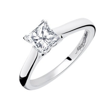 Navy Star 1 Cttw Princess Cut Solitaire Ring, 14K White Gold