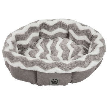 SnooZZy Shearling Round Gray Zig Zag Pet Bed