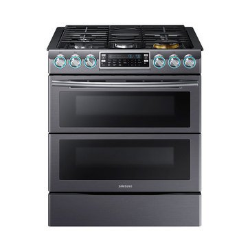 Samsung 5.8-Cu.Ft. Slide-In Double Oven Gas Range, Black Stainless Steel (NX58K9850SG)