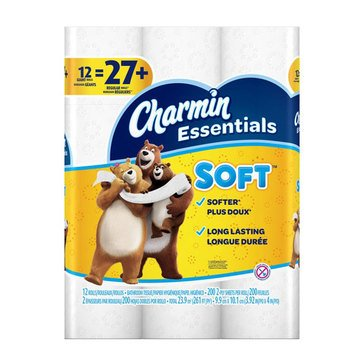 Charmin Essentials Ultra Soft Toilet Paper 12 Giant Rolls