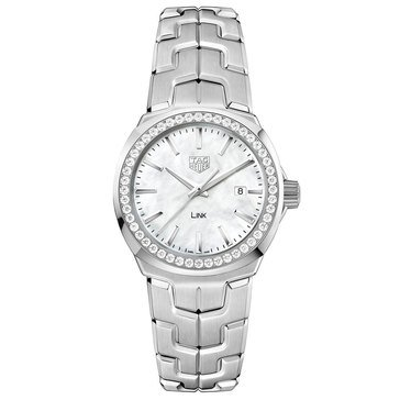 Tag Heuer Women's Link .67 Cttw White Mother of Pearl/Fine Brushed and Polished Stainless Steel Diamond Watch, 32mm
