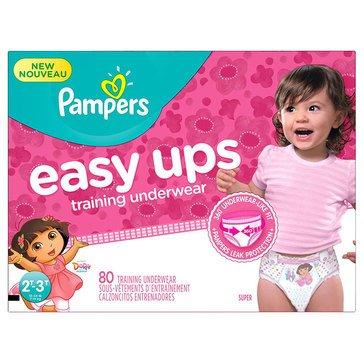 Pampers Easy Ups Super Pack 80-Count Training Underwear Girls' Size 2T/3T
