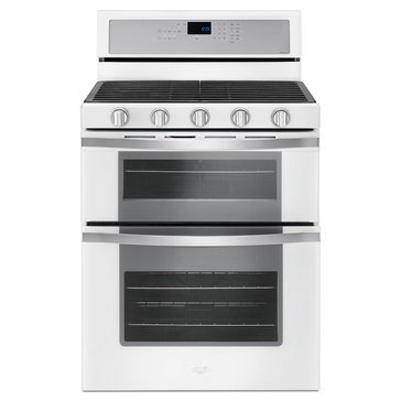 Whirlpool 6-Cu.Ft. Double Oven Gas Range w/ True Convection, White Ice (WGG745S0FH)