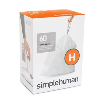 simplehuman Custom Fit H Liners, 60 Pack