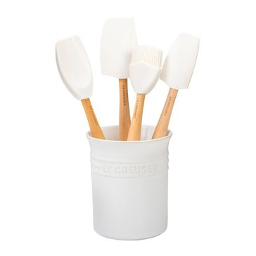 Le Creuset Craft Series 5-Piece Utensil Set With Crock, White