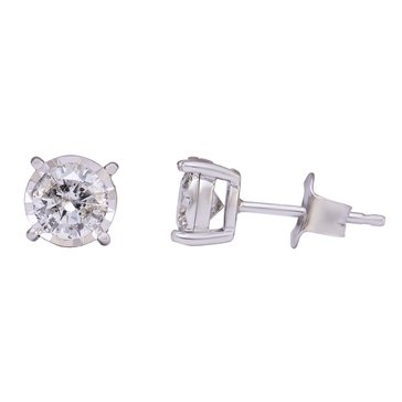 Diamond Miracle Stud Earrings 1 cttw, 10K White Gold