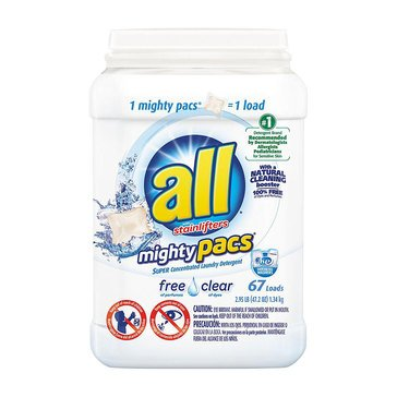 All Mighty Pacs Free Clear w/Stainlifters Laundry Detergent, 72-Count