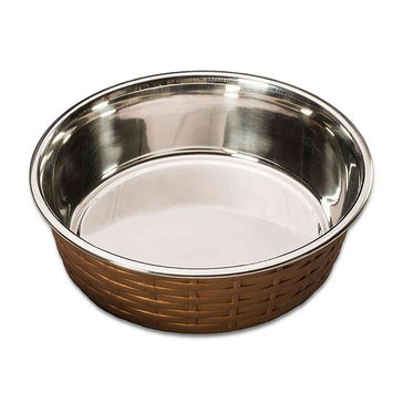 Soho Basketweave 15 oz. Copper Food Dish for Cats