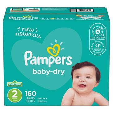 Pampers Baby 160-Count Giant Pack Diapers, Size 2