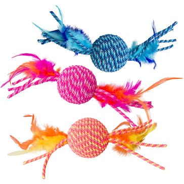 Ethical Pet Elasteez Ball with Feathers Cat Toy