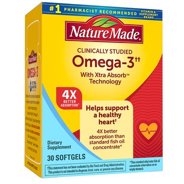 Nature Made Omega 3 Xtra Absorb 1200 MG Softgels 30ct