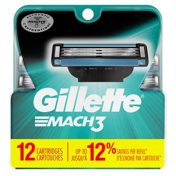 Gillette Mach Cartridges 12ct 3-Pack