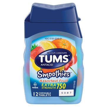 Tums Antacid 750mg Smoothies Extra Strength Fruit Chewable Tablets, 12 Count