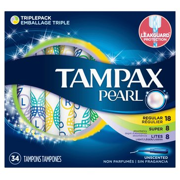 Tampax Pearl Unscented Tampons Mix, 34 Count