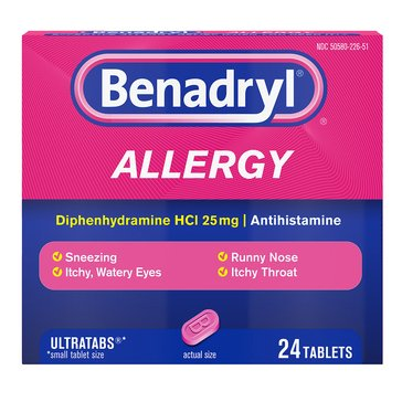 Benadryl Allergy Ultra Tablets 25MG, 24 Count