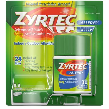 Zyrtec Allergy Relief 10MG Tablets, 30 Count