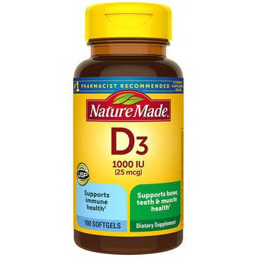 Nature Made Vitamin D3 1000 IU Liquid Softgels 100ct