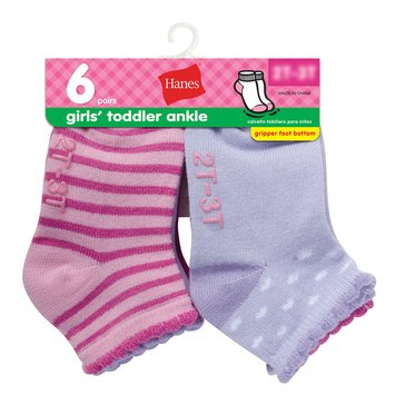 Hanes Toddler Girls' Ankle Socks, 6-Pack