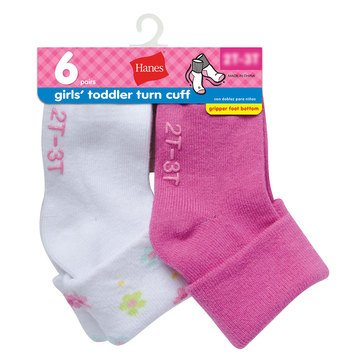 Hanes Toddler Girls' Turncuff Socks, 6-Pack