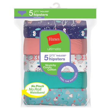 Hanes Girls' Ultimate Cotton Hipster, 5-Pack