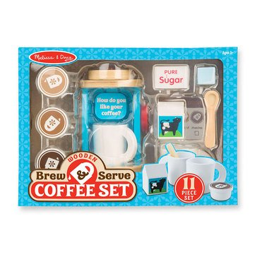Melissa & Doug Wooden Brew and Serve Pretend Play Coffee Set