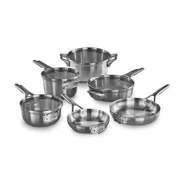 Calphalon Premier 10-Piece Space-Saving Stainless Steel Cookware Set