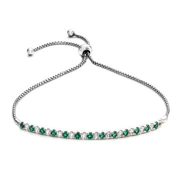 Created Emerald Bolo Bracelet, Sterling Silver