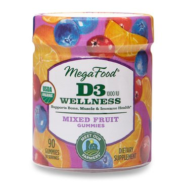 Megafood D3 Wellness Mixed Fruit Gummies 90ct