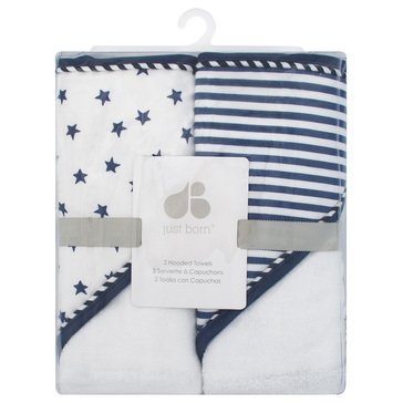 Just Born Baby Boys' 2-Pack Hooded Towels, Pom Pom