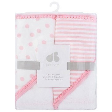 Just Born Baby Girls' 2-Pack Hooded Towels, Pom Pom