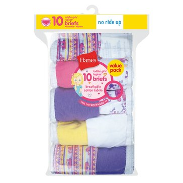 Hanes Toddler Girls' Briefs, 10-Pack