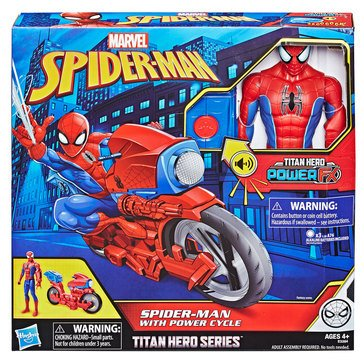 Marvel Comics Titan Hero Series Spider-Man Figure with Power FX Cycle
