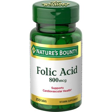 Nature's Bounty Folic Acid 800 MCG  Maximum Strength 250ct