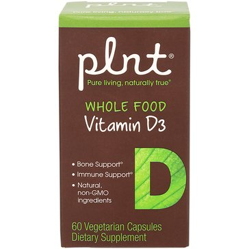 Plnt Whole Food Vitamin D3 2,000 IU 60 Vegetarian Capsules