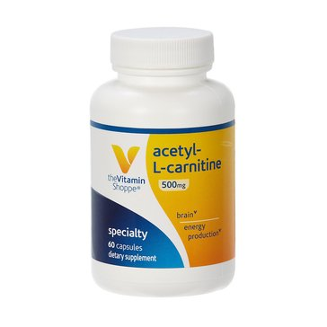 The Vitamin Shoppe Acetyl-L-Carnitine 500 MG, 60 Capsules