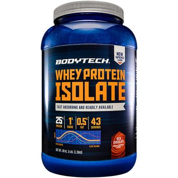 BodyTech Whey Protein Isolate Powder - Rich Chocolate 3lbs 43 Servings