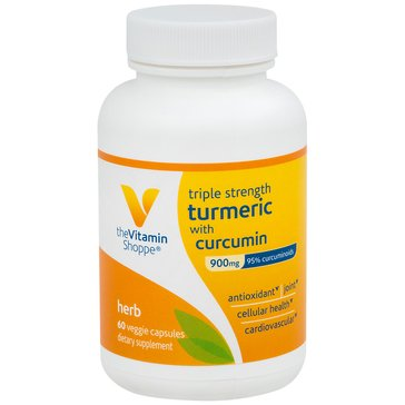 The Vitamin Shoppe Triple Strength Turmeric with Curcumin 900 MG 60 Vegetarian Capsules