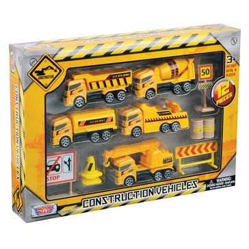12pc 3 Construction Vehicles Set