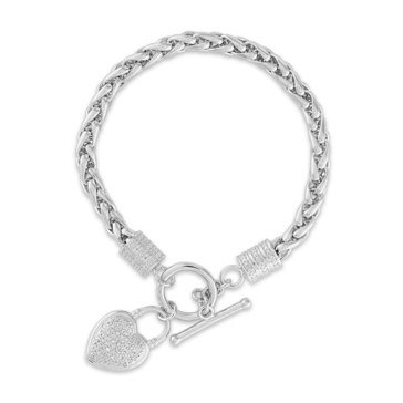 1/10ct Diamond Wheat Bracelet, Sterling Silver With Heart Charm, Sterling Silver