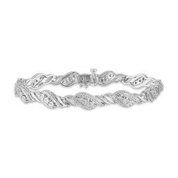 1/10ct Diamond Miracle Plate Fashion Bracelet, Sterling Silver