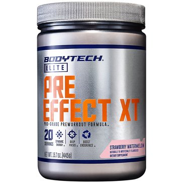 BodyTech Elite Pre-Effect XT Pro-Grade Pre-Workout Formula - Strawberry Watermelon 15.7oz 20 Servings