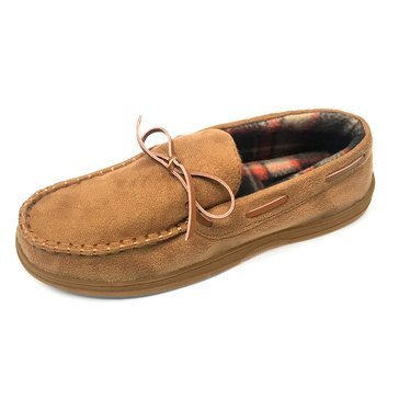 Goldtoe SLMGT-B9004-Tan Moccasin Slipper with Plaid Lining