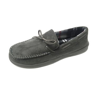 Goldtoe SLMGT-B9004-Grey Moccasin Slipper with Plaid Lining