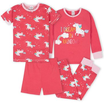 Gerber Baby Girls' 4-Piece Cotton Pj Set
