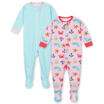 Gerber Baby Girls' 2-Pack Cotton Footed Nautical Pj Set