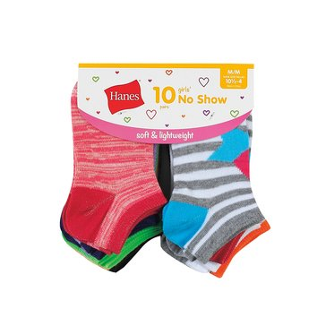 Hanes Girls' Lightweight Fashion No Show Socks, 10-Pack