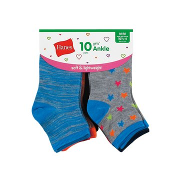 Hanes Girls' Lightweight Fashion Ankle Socks, 10-Pack